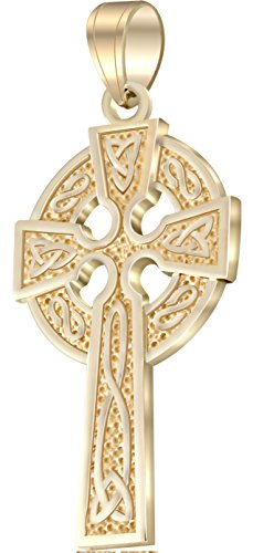 US Jewels And Gems Men's 1.625in 14k Yellow Gold Irish Celtic Knot Cross Pendant