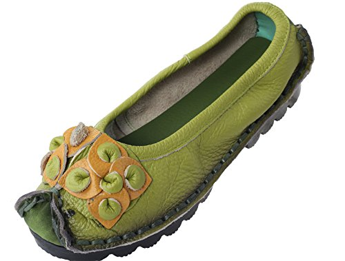 Mordenmiss Women's Fall New Flat Flower Pattern Shoes Style 6-36-Green Image