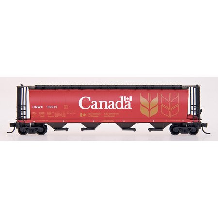 Intermountain Railway Z Scale Cylindrical Covered Hopper, CNWX/Red Canada