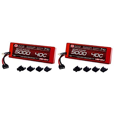 Venom Sport Power 40C 2S 5000mAh 7.4V LiPo Battery ROAR with Universal Plug (EC3/Deans/Traxxas/Tamiya) x2 Packs