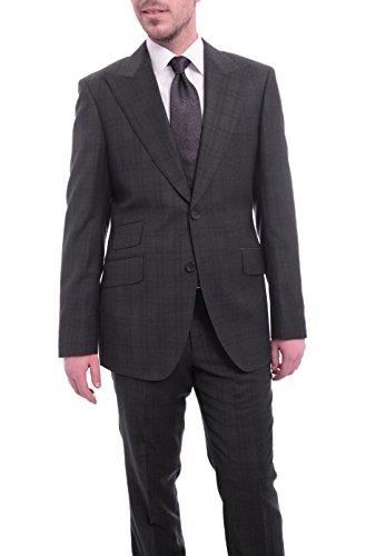 (Napoli Slim Fit Gray Purple Plaid Half Canvassed Super 150s Wool Suit Peak Lapel)