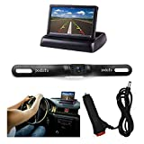 """Backup Camera and Monitor Kit, Podofo Foldable 4.3""""Color LCD TFT Rearview Monitor with Waterproof Vehicle Car Rear View Backup License Plate Camera"""