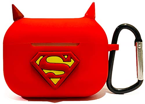 Texco International Superhero Character Collection Soft Silicone, Shock Proof, Protective Cover Case for AirPods Pro Wireless Headset Earphone Cover (AIRPODS PRO, Super-Man)