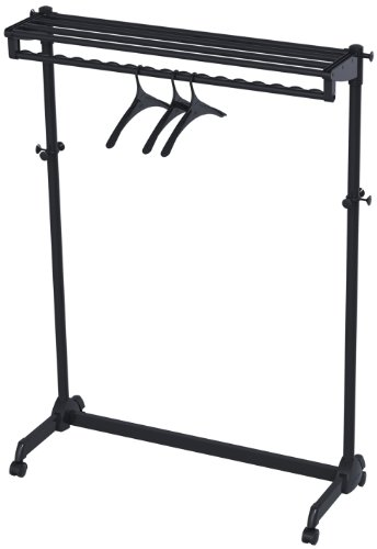 (Alba One-Sided Mobile Garment Rack with Single Shelf, Includes 3 Hangers, Black (PMRAK-SG483N))