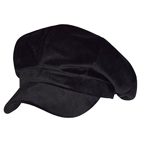 Univegrow Women Newsboy Hat Velvet Visor Beret Cap 8 Panel (Velour Black) -