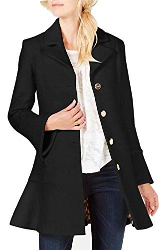 Laundry by Shelli Segal Boucle Wool-Blend Skirted Single-Breasted Coat Black (M)