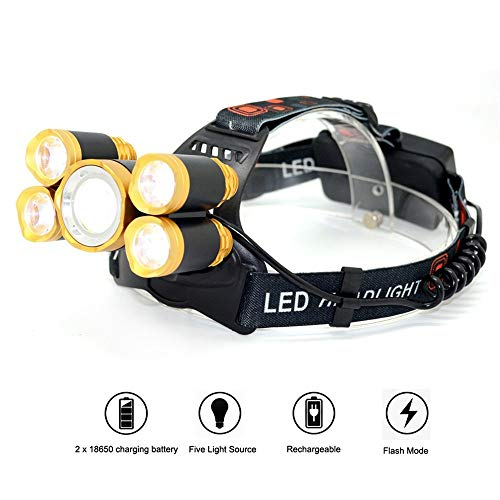 TheMonday T6+Xpe Led Head Lamp 16000Lm Zoomable Headlamp 5Leds Headlight Tube Torch Led Flashlight+Car Charger+18650 Batteries