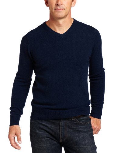 Williams Cashmere Men's 100% Cashmere V-Neck Sweater, Nav...