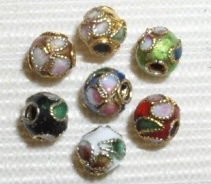6mm Cloisonne Beads (100 6mm Handmade Mix Cloisonne Beads By BriannaBeads)