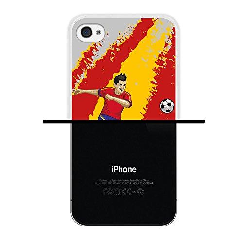 WoowCase Hülle Case für { iPhone 4 iPhone 4S } Handy Cover Schutzhülle Fußballspieler Spanische Flagge