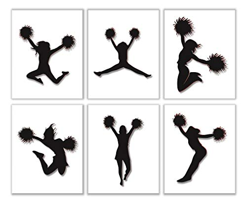 Wall Decor for Girls Bedroom - Dancing Teen Cheerleader with Poms - 8
