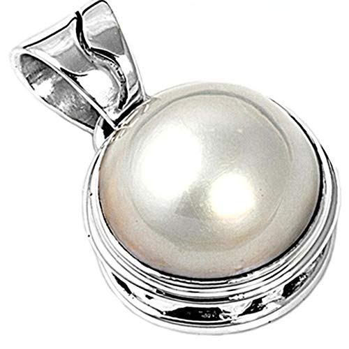 Pendant Simulated Pearl .925 Sterling Silver Charm Vintage Crafting Pendant Jewelry Making Supplies - DIY for Necklace Bracelet Accessories by CharmingSS -