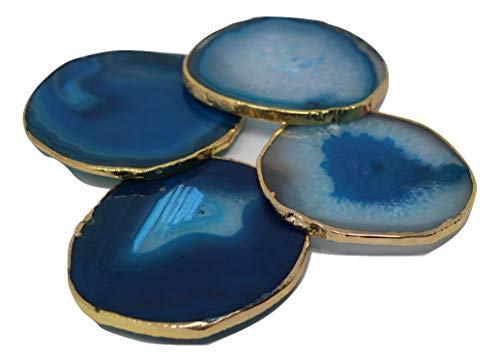 Agate Geode coasters set of 4 Real blue stone with gold rim quartz decor slices cup mat Home Decor Amethyst crystals slices for drinks artwork projects Fantastic housewarming gifts (Natures Accents Bat)