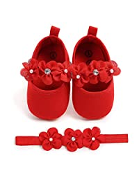 Kuner Toddler Girls Mary Jane Shoes Baby Girls Christening Dance Shoes Ballerina Slipper with Bow Ribbon
