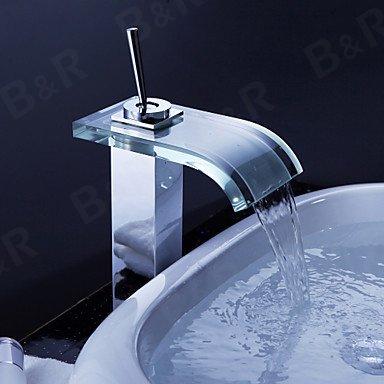 Maifeini  Hahn, Hahn, Tippen Sie Auf Den KühlKörper Mischbatterien Wasserfall Bad Armatur Modernes Glas Waschbecken Wasserhahn