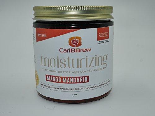 Deal - Sale - Moisturizing 2 in 1 Haitian Green coffee scrub and Shea body butter (Mango Mandarin)! Vegan, Organic,Mess-Free, and Fairtrade - Sale ()