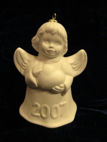 - 2007 Annual Dated Goebel Angel Bell Ornament - White - 32nd Edition