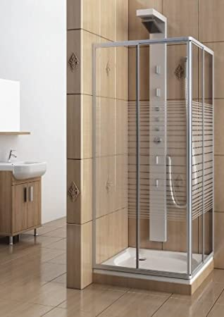 Duschkabine eckeinstieg  Eckeinstieg Duschkabine Echtglas Sicherheitsglas mit Streifen ...