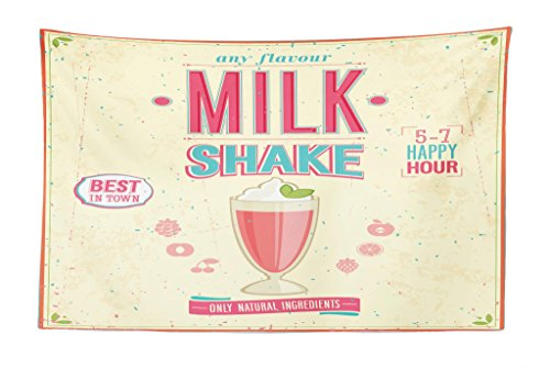 Lunarable Vintage Tapestry, Milkshake Poster Design with Weathered Look Retro Design Inspirations, Fabric Wall Hanging Decor for Bedroom Living Room Dorm, 45 W X 30 L Inches, Pale Blue Pink and Cream ()