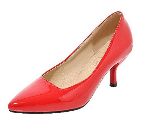 Allhqfashion Damessandalen-hakken Pu Stevige Puntschoen Pumps-schoenen Rood
