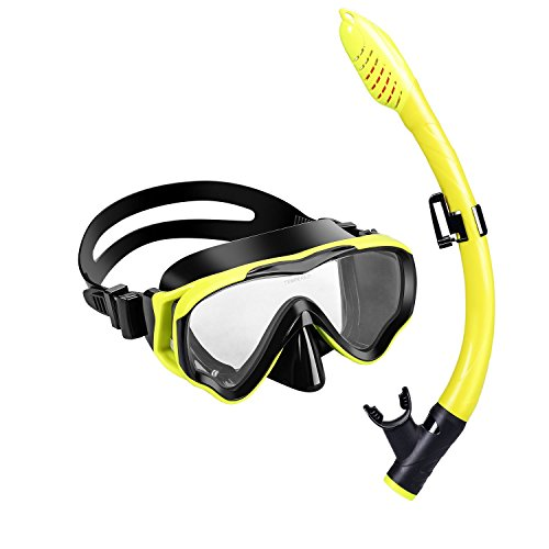 UPhitnis Kids Seaview Snorkel Set Dry Top Snorkel Mask with Big Eyes for Kids, Childs, Boys, Girls - Easybreath Snorkeling Mask for Snorkeling, Diving