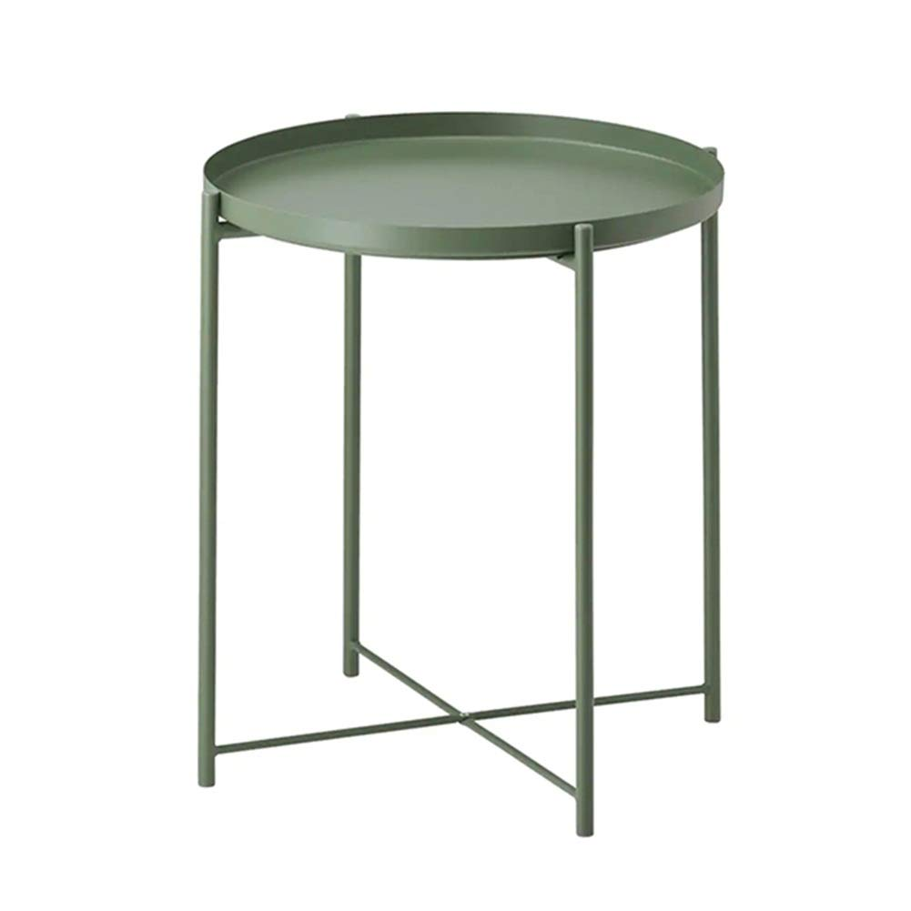 ArmyGreen 4452cm ZHAOYONGLI Tables,Coffee Tables Both Sides Top Available Small Modern Metal End Table Side Table Coffee Table - Easy Assembly Multi-use Decor Indoor and Outdoor (color   ArmyGreen, Size   44  52cm)
