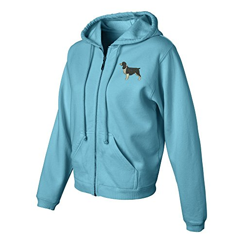 Springer Spaniel Black Ladies Pigment Dyed Full Zip Hooded Sweatshirt Color Lagoon Blue, Size XL