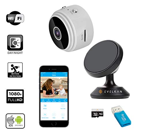 Mini Hidden spy Camera WiFi with Audio, WiFi Hotspot, EVELKAN Full HD 1080P Wireless Nanny cam with Remote View, Motion Detection, Phone alerts and Night Vision, Home/Office Security Camera (White)