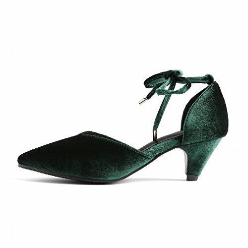 Lace Velvet Women'S Shoes Up Heels High Pointed Heeled Shoes C with rOWqHxw14r