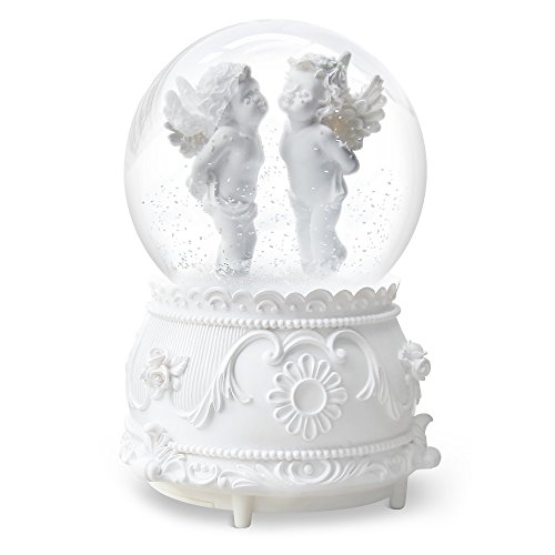 QTMY Musical Snow Globes Ornament Angel Cupid Music Boxes with Led Light Crystal Ball Christmas Gift for Kids Girls