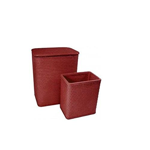 - Redmon Chelsea Collection Hamper with Matching Square Wastebasket, Raspberry, 24 Piece