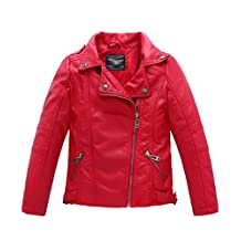YoungSoul Boys Girls Spring Motorcycle Faux Leather Jackets with Oblique Zipper