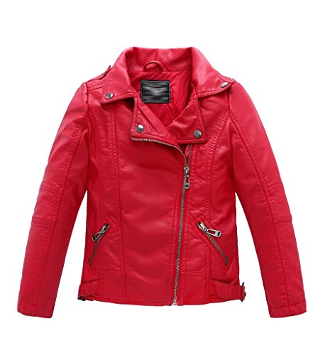 YoungSoul Boys Girls Spring Moto Faux Leather Jackets with Oblique Zipper Red 5-6T (Jacket Kids)
