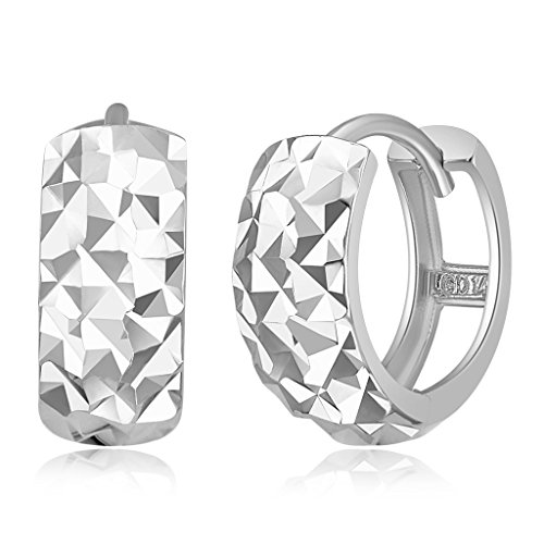 Wellingsale Ladies 14k White Gold Polished 5mm Diamond Cut Faceted Hoop Huggies Earrings (7 x 7 mm) (Polished Earring White)