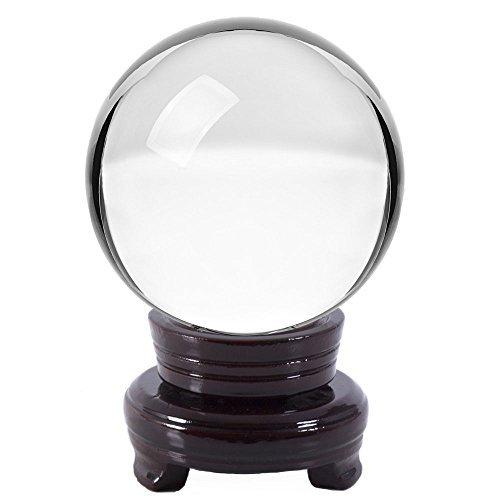 Gemnique Crystal Ball w/ Wood Stand and Gift Box - Clear 110mm (4.3'') by Emopeak