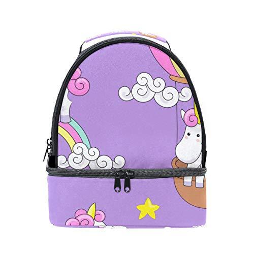 almuerzo el con para correa para térmica diseño de ajustable Bolsa unicornio hombro el arcoíris Alinlo nBxHIt
