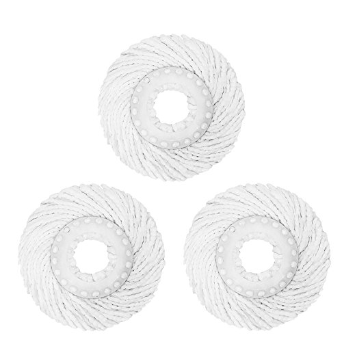Best Value 3 Pack High Quality Replacement Micro Mop Head Refill For Standard Universal Spin Mop  Anti Abrasive Microfibers No Scratch Round Shape Standard Size 3 Pack