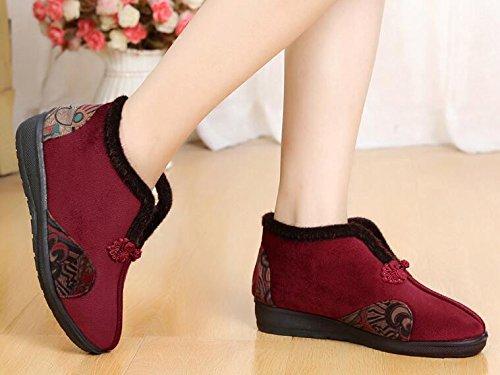 KHSKX-Zapatos De Tela En El Invierno Calor En La Anciana Madre Espesado Antideslizante Zapatos Bordados En Zapatos Claus Handicap gules