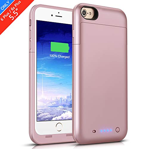 Battery Case for iPhone 6s Plus/6 Plus, 6800mAh Conqto Portable Protective Power Charging Case Compatible with iPhone 6 Plus/6s Plus (5.5 inch) Rechargeable Extended Battery Charger Case-Rose Gold (Iphone 5 Battery Case Pink)