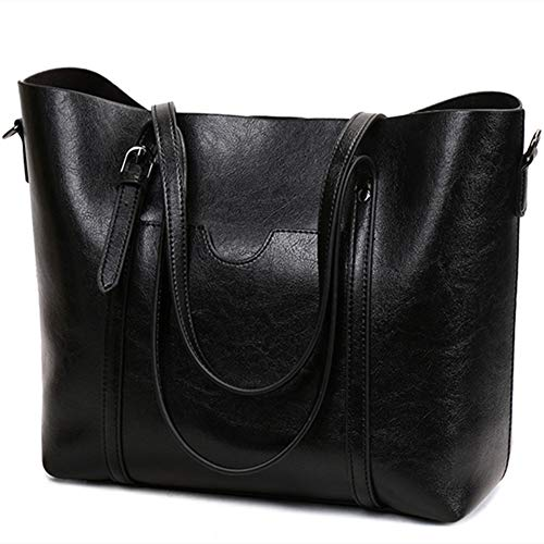 Women's Leather Work Tote Vintage Style Soft Shoulder Bag Large Purse Handbag (Black)