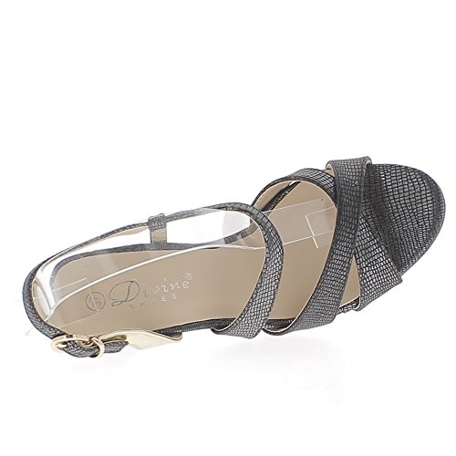 Sandales noires à talon fin de 9,5cm aspect argenté fines brides