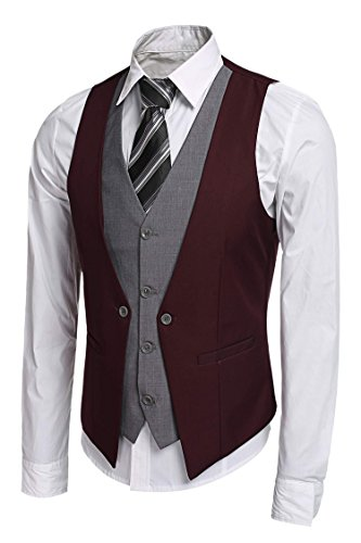 JINIDU Men's Slim Fit Formal Vest Business Suit Vests Waistcoat Wine Red]()