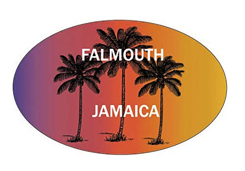 R and R Imports Falmouth Jamaica Souvenir Palm Trees Surfing Trendy Oval Decal - Decal Oval Jamaica