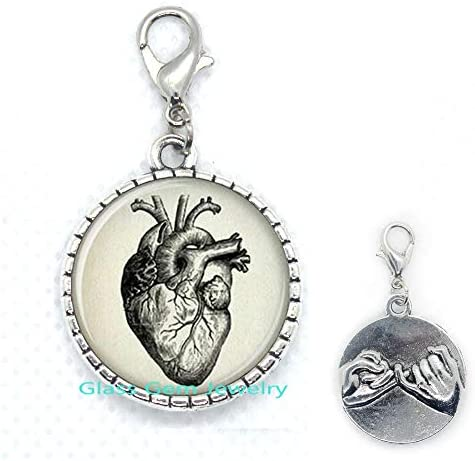 Anatomical Heart Lobster Clasp Anatomical Heart Zipper Pull Anatomical Heart Jewelry,Q0132