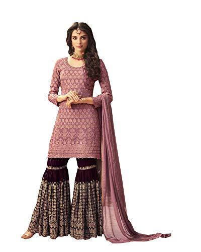 ziya Women's Collection Indian Pakistani sharara Palazo Suit MOHINI (Pink, XS-36)