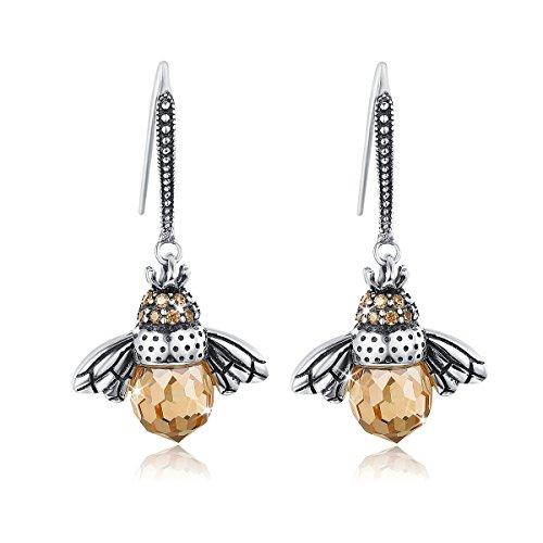 WOSTU Crystal Drop Earrings Sterling Silver CZ Queen Bee Dangle Earrings Hypoallergenic Fashion Earrings