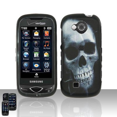 X-Ray White Skull Rubberized Snap on Hard Cover Protector Faceplate Cell Phone Case for Verizon Samsung Reality U820 + Belt Clip + LCD Screen Guard Film (Free Wrist Band) (Snap White Skulls Rubberized)
