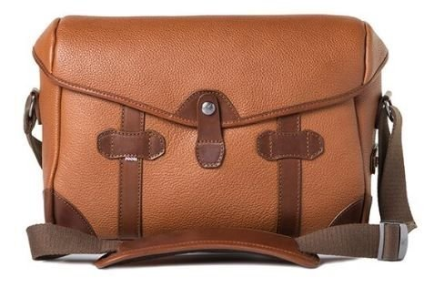 Barber Shop Pageboy Messenger Camera Bag, Small, In Grained Brown Leather with Padded Insert ()