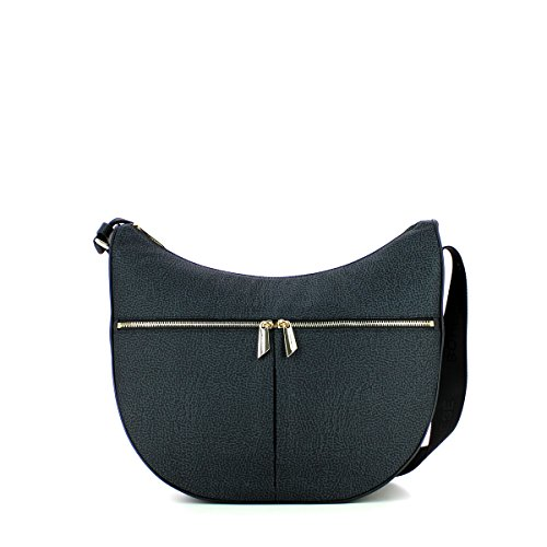 Borsa a tracolla Borbonese Luna Bag Medium in tessuto Jet nero