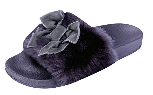 Cambridge Select Women's Open Toe Faux Fur Bow Mixed Media Slip-On Flat Slide Sandal (9 B(M) US, (Faux Fur Bow)